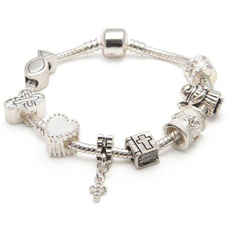 Liberty Charms Childrens/Girls/Teen First Holy Communion/Confirmation Silver Plated Charm/Bead Bracelet 15 cm(Other sizes available) With Gift Box and Velvet Pouch.