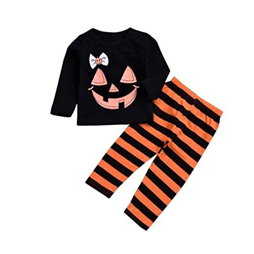 SuperSU 2 Stück Halloween Kinder Cartoon Print Top Kleidung + Gestreifte Lange Hosen Set Outfit Kürbis für Kinder Halloween Kostüm Kleid Outfit Pumpkin Romper Feiertagskostüm Satz