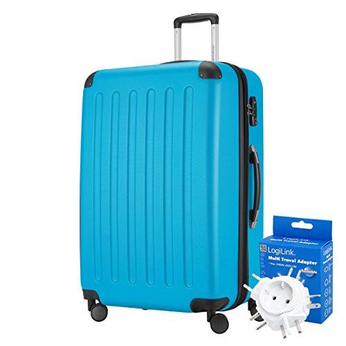 HAUPTSTADTKOFFER® 128 Liter XL Reisekoffer · SPREE · TSA · MATT · (in versch. Farben) + REISEADAPTER (Cyan Blau)