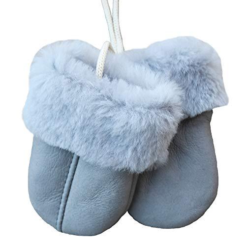 SamWo SamWo, Babyhandschuhe aus echtem Lammfell, kuschelig warmes Naturprodukt, für Kinder von 0-1 1/2 Jahren, Farbe: hellgrau