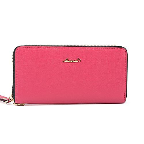 Purse sezione femminile della borsa cerniera portafoglio semplice cartella portafoglio nota titolare della frizione ( colore : Blu ) Rosy Red