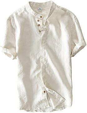 Icegrey Hombre Henley Camisa De Lino De Manga Corta Casual T-Shirt Camisas De Verano Con Cuello Alto