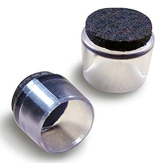Ajile® - 16 Stck. - 22 mm Durchm. Durchsichtige Fusskappen mit antikratz Filzgleitfläche - EVF922-FBA