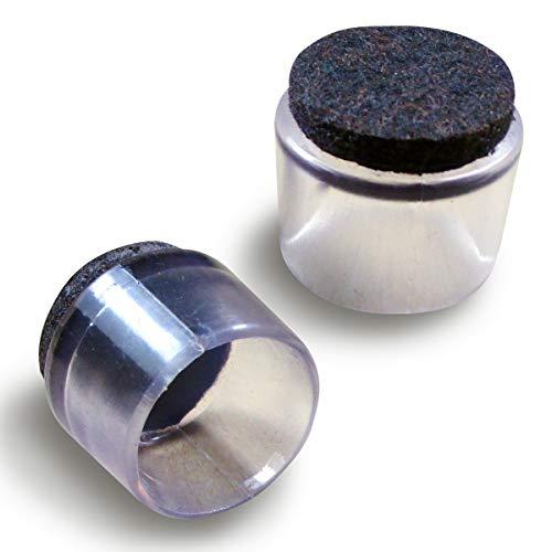 Ajile® - 16 piezzas -Tapón envolvente para tubo de diametro 16 mm con suela de fieltro para la pata de la silla, protección contra ruidos y arañazos - EVF916-FBA