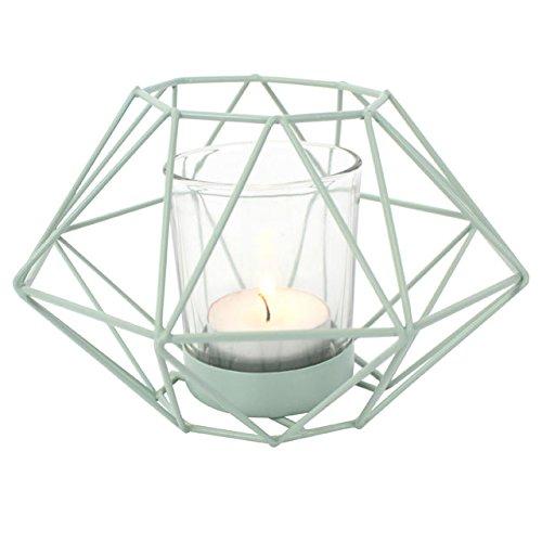 Portavelas geométrico para vela de té, metal, verde menta, H:10cm W:13.5cm...