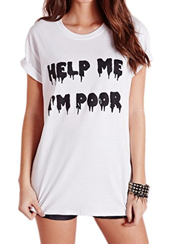 Smile YKK Femme Fashion T-Shirt Motif Tops Gilet Slim Mode Blanc