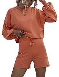 Mujer Suéter 2 Pedazos Unicolor Casuales Classic Pullover Punto Mangas De Murciélago Cuello Redondo Tejer Arriba Top + Shorts Conjunto De 2 Piezas