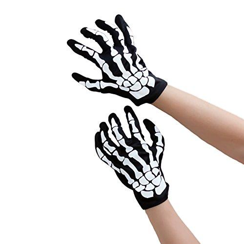Oblique-Uniuqe® Skelett Handschuhe Schwarz Einheitsgröße Mann & Frau - Fasching Karneval (Skelett Elasthan Kostüme)