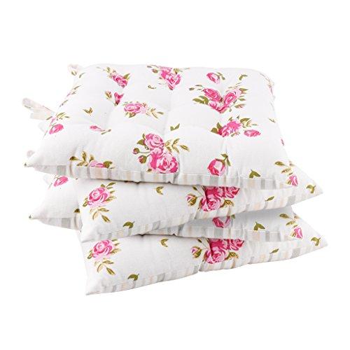 Dibor - Juego 4 Cojines Banco algodón Estampado Floral