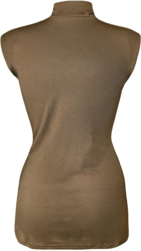 WearAll - Grande taille uni débardeur top avec col roulé - Hauts - Femmes - Tailles 44 à 50 Moka