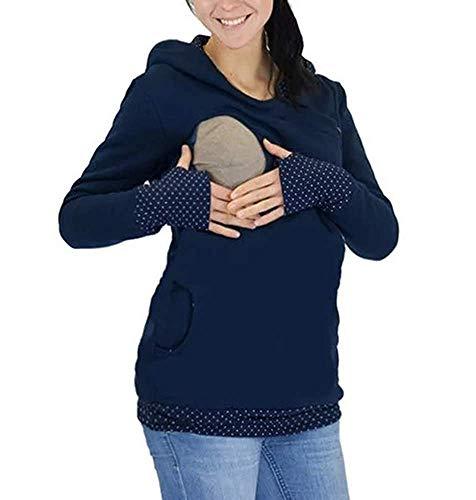 Womens Maternity Hoodie Sweatshirt Zip Langen Wesentlich Side Ärmeln Umstands Still Sweatshirts Mit Kapuzen Damen Mode Herbst Winter Pullover Young Fashion Umstandsmode (Color : Blau, Size : M) - Zip Jumper