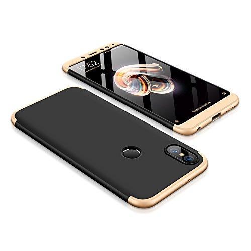 Bigcousin Xiaomi Redmi Note 5 Pro Hülle, mit [1 x Panzerglas Schutzfolie] 3 in 1 Ultra Dünner PC Harte Schutzhülle 360 Grad Hülle Fullbody Case Cover für Xiaomi Redmi Note 5 Pro - Gold + Schwarz