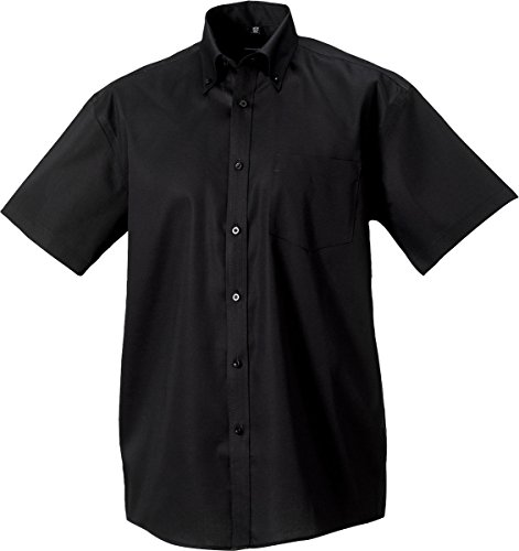 Russell Collection Herren kurzärmeliges Hemd Ultimate Formal Office Top bügelfrei Schwarz