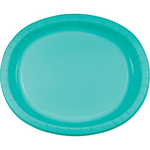 Creative Converting 324773 Touch of Color Oval Paper Platters, Teal Lagoon, Classic Red