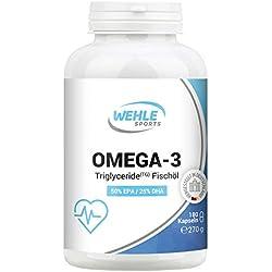 Omega 3 Kapseln hochdosiert Triglyceride Fischöl - 180 Fish Oil Softgel 500mg EPA 250mg DHA ohne Vitamin E Omega-3 Fettsäuren - Wehle Sports