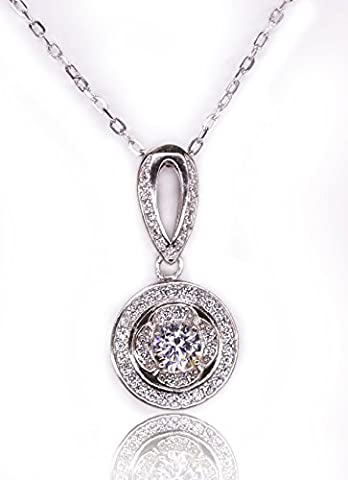 HOOCOOL Damen 925 Silber Kette über Bohrungen Claviclekette Anhänger Diamant-Kristall