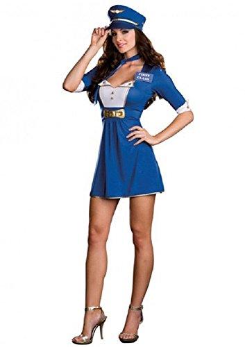Neue Damen Blau & Weiß 4Piece Air Hostess Trolley Dolly Frau Fancy Dress Hen Night Party One Size UK 8–10EU (Trolley Kostüm Dolly)