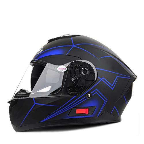 ProtectionKei Vollgesichtsmotorradhelm Anti-Fog-Sonnenblende Off-Road Racing Doppelobjektiv-Motorradhelm Black Blue XL