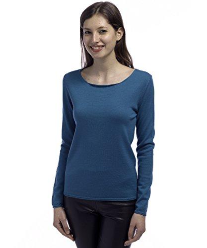 Magliefilanti; Maglia girocollo 100% lana merino, Blu petrolio, Large