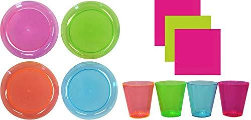 KPW 130 Teile Party Deko Set Neon Buntes Plastik für 40 Personen - Schwarzlicht