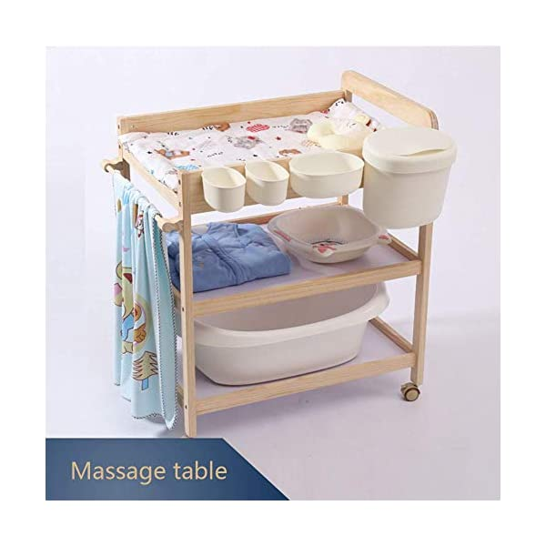 Baby Changing Table Dresser Nursing Station with Casters Portable Bath Organizer for Infant Moving Wood Storage- Natural (Size : 80x58x100cm) GUYUE Silent caster with brake. Safety rails enclose all four sides of the changing area Strong and sturdy wood construction: Pine + solid wood paint free board. 4