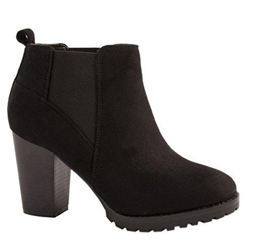 Elara Damen Stiefeletten   Klassische Ankle Boots   Wildlederoptik Blockabsatz   Gefüttert Schwarz