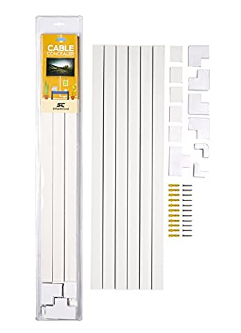 SimpleCord™ Cable Concealer On-Wall Cord Cover Raceway Kit - Cable Management System To Hide Cables, Cords, Or Wires - Organize Cables To Tvs And Computers At Home Or In The Office