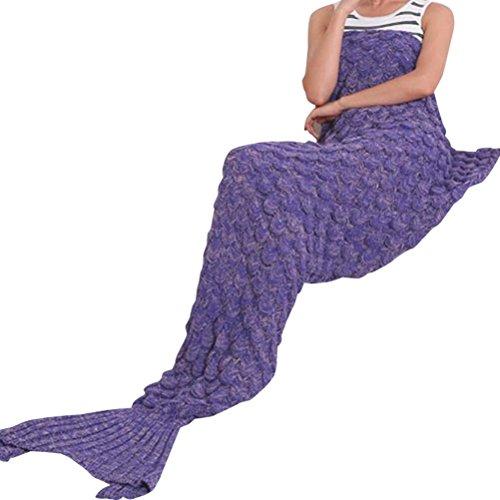 """Renoliss una coda-Coperta fatta a mano, lavorato a maglia, caldo salotto con divano per bambini e adulti grazie 190 cm x 90 cm x cm ( 189,99 (74,8"""") 89,92 (35,4"""") cm, colore: blu, Viola, 180*80cm"""