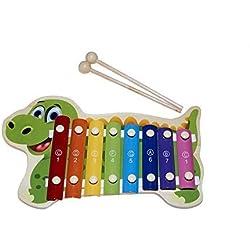 Juguetutto - Xilófono Dino. Xilófono de juguete hecho en madera con forma de dinosaurio hará que niños y niñas se lo pasen genial tocando cada nota musical