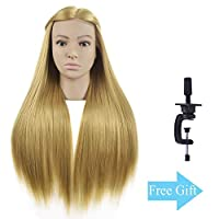 "26""-28"" Training Head Hairdresser Mannequin Head Hair Styling Head Manikin Head Doll Head Cosmetology Synthetic Fiber Hair with Free Clamp"