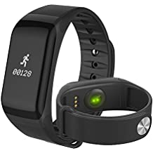 Reloj De Pulsera De F1 Smart Monitor de ritmo Cardiaco, Presion arterial Smartband - Smart Band Reloj Fitness Inalámbrico Para Android IOS Diferente (Black)