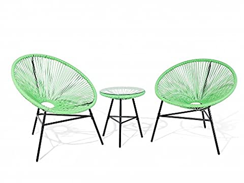 Garden furniture - Patio Set - Outdoor Bistro Set - Table and 2 Chairs - Green - ACAPULCO