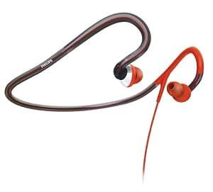Philips SHQ4000 Backnack Sport- Kopfhörer (schweiß- und wassersicher / antibakteriell) inkl. Tasche, rot