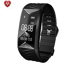 YAMAY SW329-BK-DE6, YAMAY Fitness Armband, Fitness Tracker mit Herzfrequenz Wasserdicht IP67 Smart Watch Pulsuhren Aktivitätstracker Schrittzähler Armbanduhr,Schlafanalyse,Kalorienzähler Anruf/SMS für iOS Android Handys