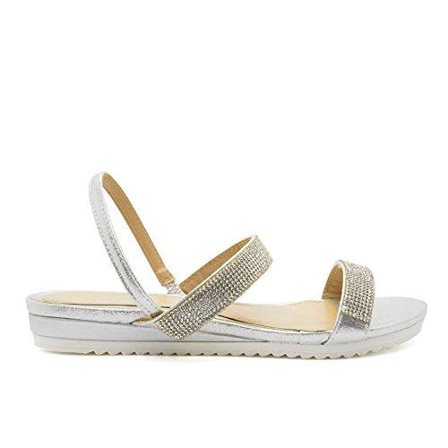 London Footwear ,  Damen Durchgängies Plateau Sandalen Silber