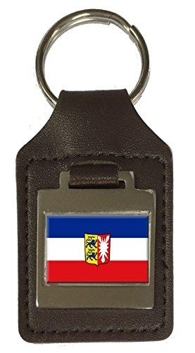 Leather Keyring Engraved Schleswig-Holstein State Flag