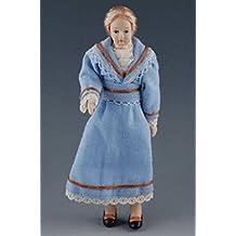 Frau im blauen Kleid blonde Haare Puppe für Puppenhaus Miniatur 1:12