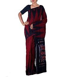 Unnati Silks Women Maroon-Black Pure Handloom Sambalpuri Cotton Ikat Saree(UNM22034)