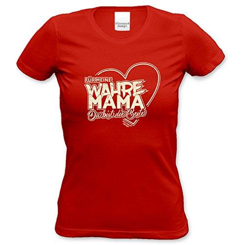 Damen T-Shirt als Geschenkidee Muttertagsgeschenk Geburtstagsgeschenk :-: Geschenk Adoptivmutter Geburtstag Muttertag Weihnachten Valentinstag :-: Für meine wahre Mama Farbe: rot Rot