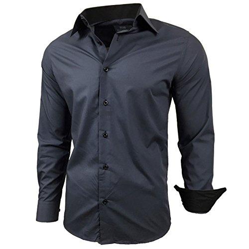 Baxboy Baxboy Kontrast Herren Slim Fit Hemden Business Freizeit Langarm Hemd RN-44-2, Größe:S, Farbe:Anthrazit