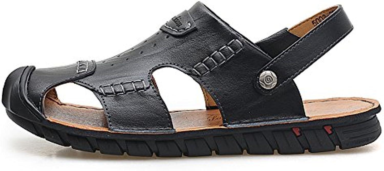 Sandali da uomo in pelle, sandali traspiranti, sandali regolabili antiscivolo per la spiaggia, adatti per il tempo... | Ad un prezzo accessibile  | Scolaro/Ragazze Scarpa