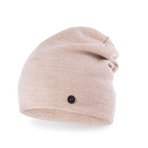 schicke Damen Strickmütze Strick-Beanie Winter-Mütze Neverless hellbeige unisize