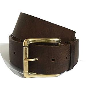 Breiter Ledergürtel in Dunkelbraun, 50mm Italienischer Gürtel für Männer - Gürtel für Frauen - Handgefertigt in England - 2 Zoll - Gold Messing Schnalle - Lederband ist auch in Schwarz, Hellbraun, Blau oder Weiß erhältlich