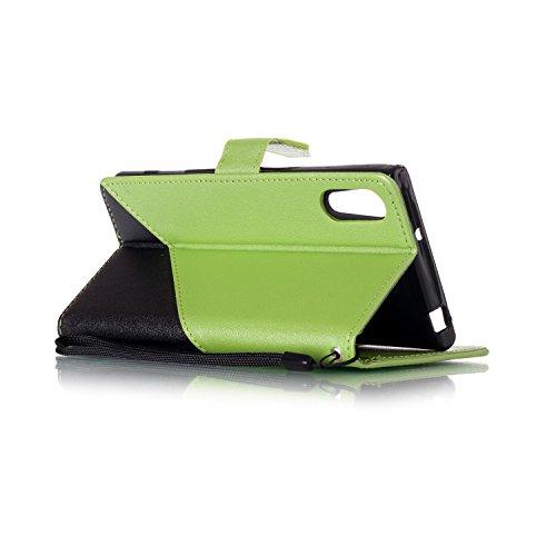 Qiaogle Telefon Case - PU Leder Wallet Schutzhülle Case für Apple iPhone 7 (4.7 Zoll) - YX34 / Schwarz + Dark Blau YX30 / Schwarz + Grün