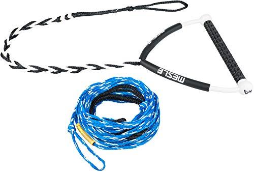 MESLE Wakeboard-Leine Rider 63' blau, Länge 16,8 m - 19,2 m, 2 Verkürzungen, schwimmend, Eva Schaumstoff-Griff, 15'' breite Hantel, T-Grip, blau weiß schwarz, mit Rope Keeper