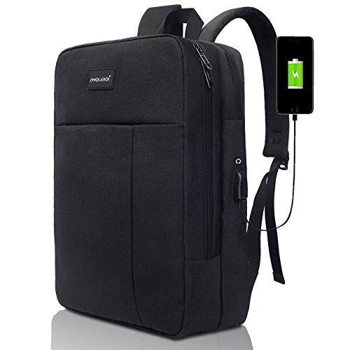 MODAR Zaino per laptop da lavoro, zaino ecologico da scuola / da viaggio adatto a 17 pollici di zaino per laptop con cavo di ricarica USB
