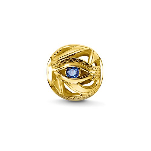 Thomas Sabo Femmes Hommes-Bead Œil D'Horus Karma Beads Argent Sterling 925 plaqué or jaune 18 carats bleu K0229-922-32