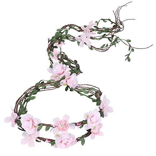 (AWAYTR Boho Braut Blume Girlande Stirnband - Frauen Mädchen Einstellbare Baum Rattan Blatt Floral Haar Kranz Hochzeit Fotografie Dekoration, Pink - Spitze, Einheitsgröße)