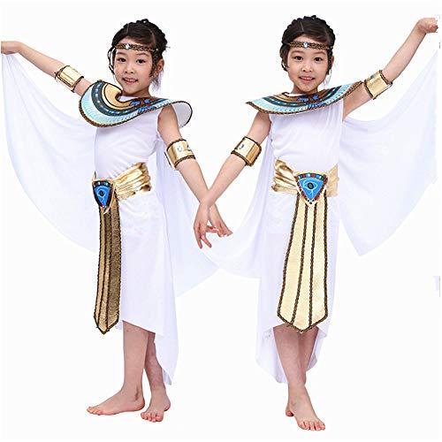 Proumhang Kostüme Halloween Kostüme Nationalität Kostüm Pharao Cleopatra Ägyptische Show Kinder Prinz Prinzessin Kostüm-Mädchen-M (für 120-135cm)