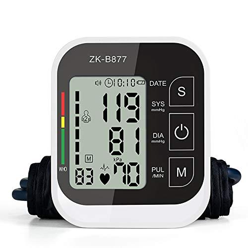YHMMOO Oberarm Blutdruckmessgerät Vollautomatische Blutdruck und Pulsmessung am Oberarm mit Arrhythmie-Erkennung und Sprachfunktion 2 * 99 Speicherkapazität,Black